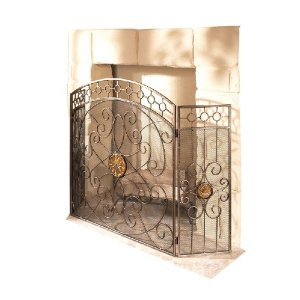 CBK  Iron Fireplace Screen with Amber Glass