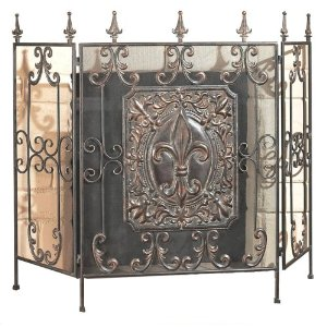 Fireplace Screen Tri-Panel with Heavy Stamped